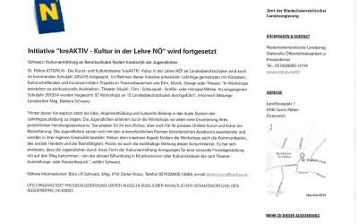 Pressemitteilung_APA OTS_Landesrätin Mag. Barbara Schwarz_kreAKTIV_Kultur in der Lehre NÖ_wird fortgesetzt