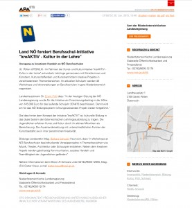 Pressemitteilung APA OTS_Land NÖ forciert Berufsschul-Initiative_kreAKTIV - Kultur in der Lehre