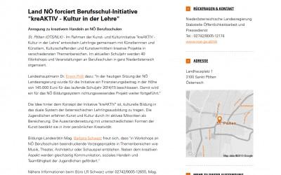 """Pressemitteilung_APA OTS_Land NÖ forciert Berufsschul-Initiative """"kreAKTIV – Kultur in der Lehre"""""""