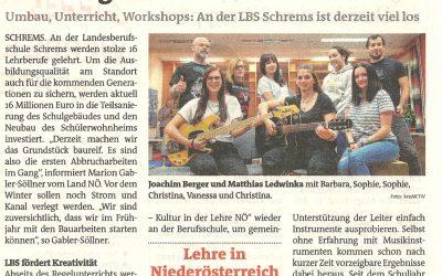 WS Bericht Bezirksblätter_09 19_LBS Schrems_Musik WS_1LG
